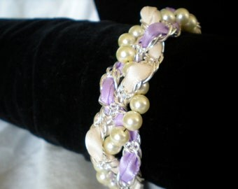 Chunky Pearl and Silver bracelet