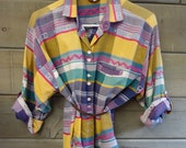 1990 Aztec Button-Up Shirt- Bright and Vibrant for Spring--Size M