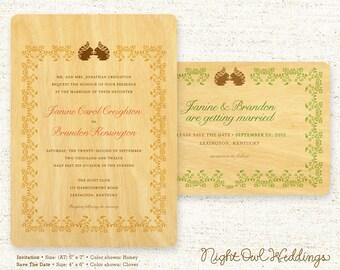 Real Birch Wood Wedding Invitation Suite - Squirrel Vows
