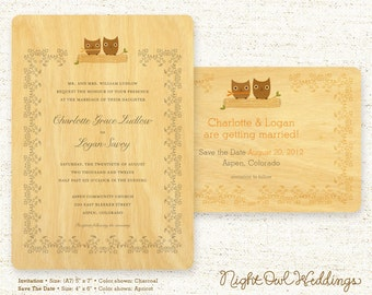 Real Birch Wood Wedding Invitation Suite - Owl Vows