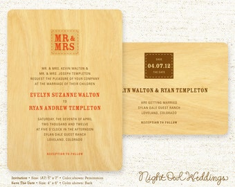 Real Birch Wood Wedding Invitation Suite - Mr & Mrs