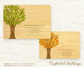Real Birch Wood Wedding Invitation Suite - Leafy Tree