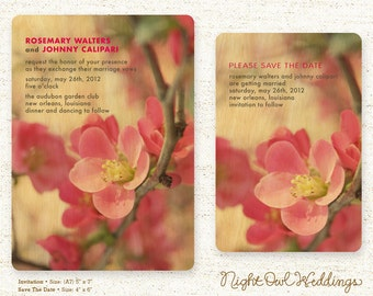 Real Birch Wood Wedding Invitation Suite - Flowering Quince