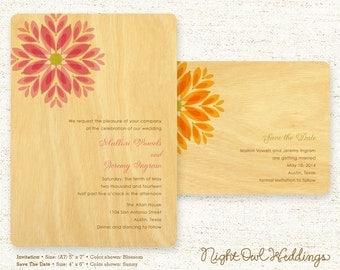 Real Birch Wood Wedding Invitation Suite - Gem Daisy
