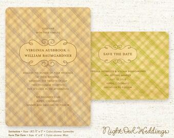Real Birch Wood Wedding Invitation Suite - Seersucker