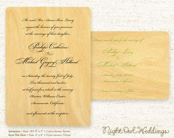 Real Birch Wood Wedding Invitation Suite - Elegant Script