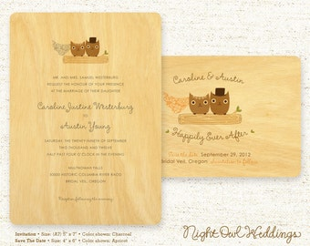 Real Birch Wood Wedding Invitation Suite - Mr & Mrs Hoot