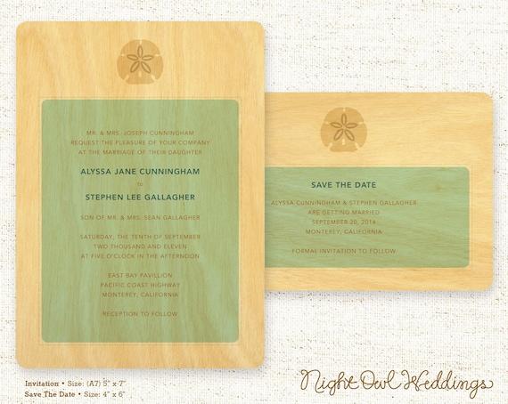 Real Birch Wood Wedding Invitation Suite - Sand Dollar