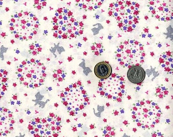 Cats and Flowers Print (White and Pink) - Japanese Fabric Half Yard