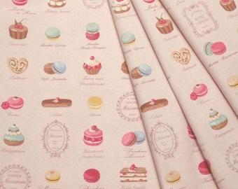 Yuwa Japanese Fabric / Cute Macaron Design Oxford Fabric Pink- 50cm x 110cm