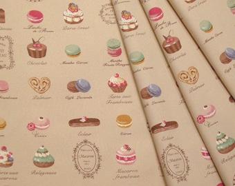 Yuwa Japanese Fabric  / Cute Macaron Design Oxford Fabric Beige - 50cm x 110cm