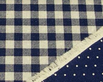 Reversible Print Checker and Dot (Dark Blue) Japanese Fabric - 110cm x 50cm