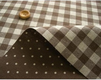 Reversible Print Checker and Dot (BROWN) Japanese Fabric - 110cm x 50cm
