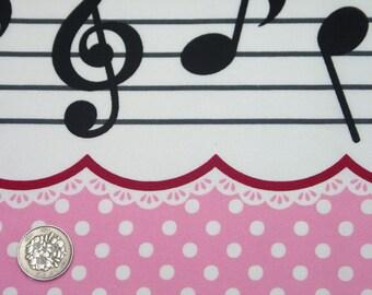 Sweet Labyrinth / Music Design PRINT Pink Japanese Fabric - 110cm x 50cm