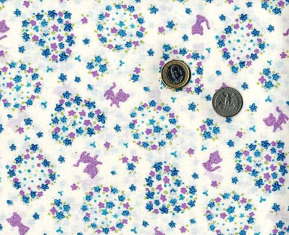 Cats and Flowers Print (White and Blue) - Japanese Fabric Half Yard