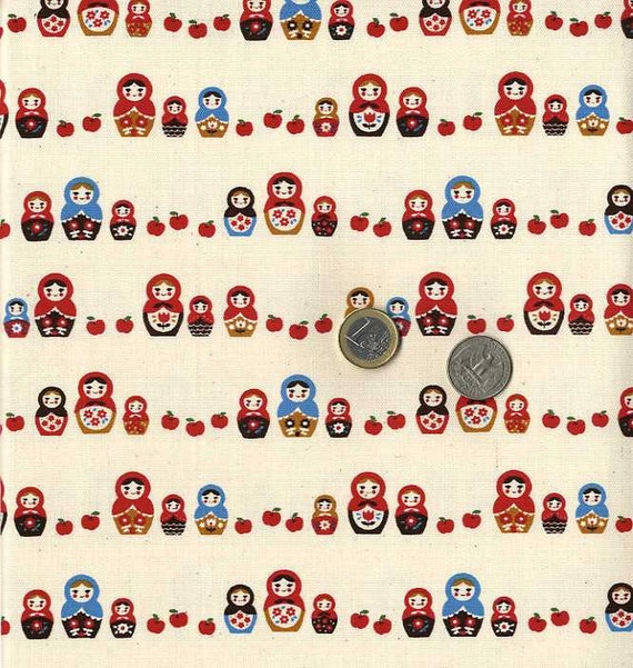 Matryoshka Dolls and Apples Print - Japanese Fabric Half Yard
