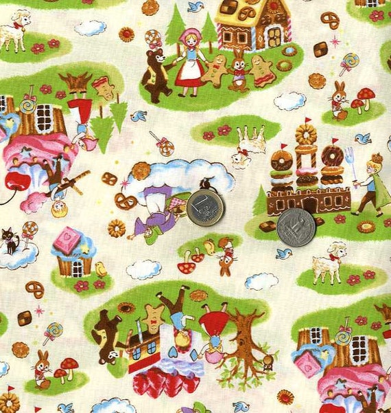 Gingerbread House, Animals, Boy, and Girl Print - Japanese Fabric Half Yard