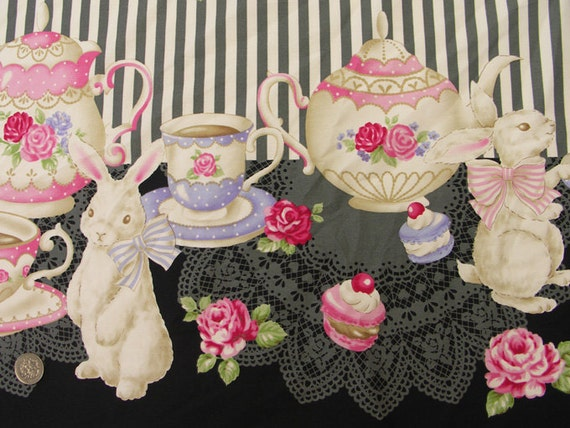 Harajuku Dolls Fabric / Bunny Tea Time Black - 50cm x 110cm