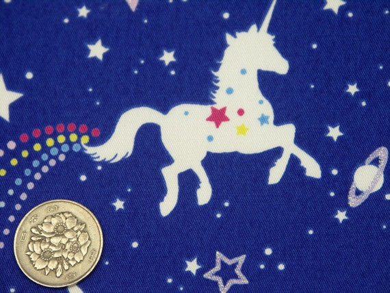 Harajuku Dolls Fabric / UNICORN HORSE Blue - 50cm x 110cm