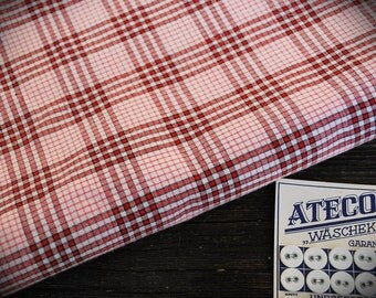 french kelsch cotton, red-pink-black-white, antique, pattern woven, check gingham fabric
