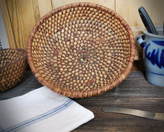 breadbasket straw sewn antique