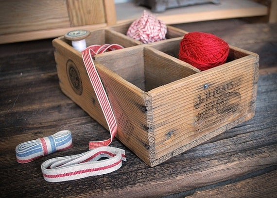 wooden sewing box compartments printed images