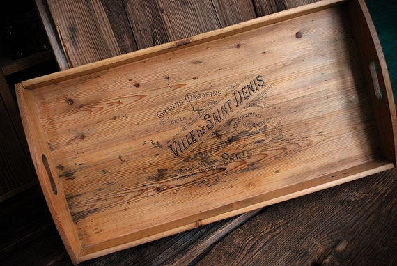 antique wooden tray French stencil