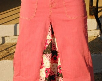 Salmon Upcycled Jean Skirt, size 4