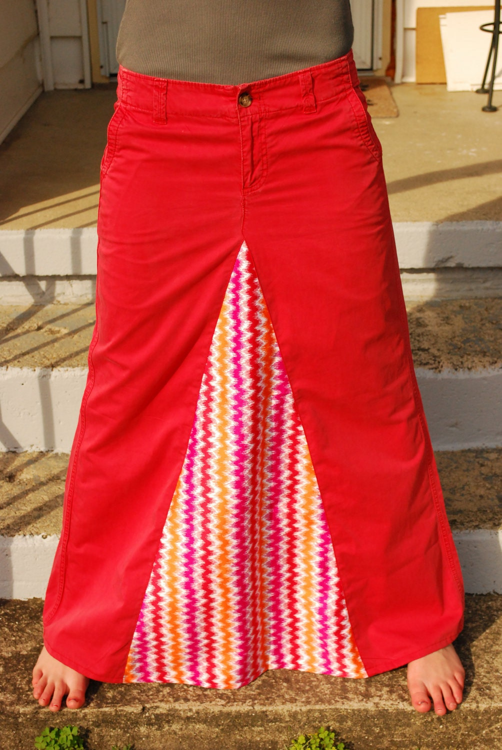 coral upcycled jean skirt size 4 by delightfullycreated7