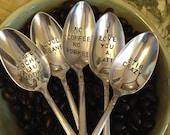 vintage silverware hand stamped coffee spoons