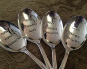 Recycled silverware   Set of 4 Good Morning Cereal Spoons, handstamped vintage silver plate
