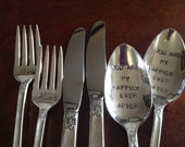Bride and Groom Forks, Knives and Spoons Hand Stamped Vintage Silverplate