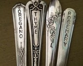 recycled silverware garden markers  Set of 4  herb hand stamped