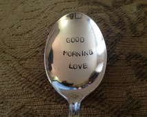 Good Morning Love, vintage silver plate cereal spoon