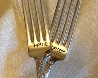 Bride & Groom Wedding Forks hand stamped bridal accessory