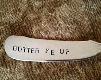 vintage silverware hand stamped cheese spreader, butter knife  Butter Me Up