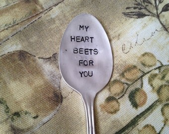 vegetable garden marker Beet  vintage silverware hand stamped