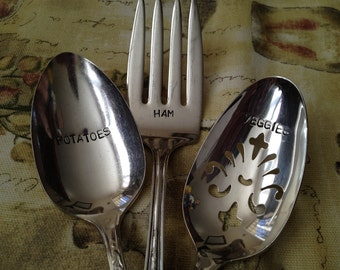 recycled silverware silverplate hand stamped 3 piece  Dinner Serving Set with veggies