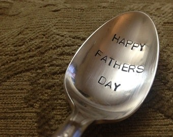 Happy Father's Day  vintage silverware hand stamped spoon