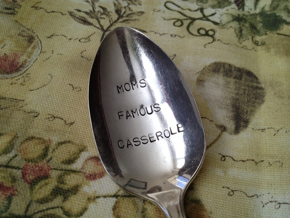 recycled silverware  Moms Famous Casserole    vintage silverware hand stamped large serving spoon