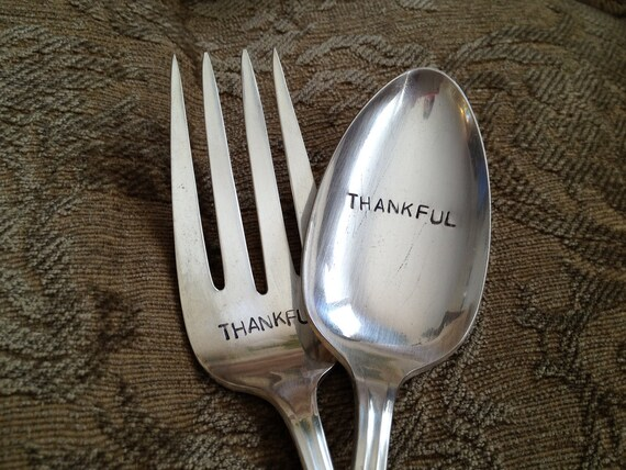 recycled silverware   Thankful   hand stamped large serving fork and spoon set