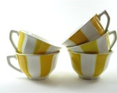 Vintage french tea cup, ceramic cup, yellow and white,set of 5