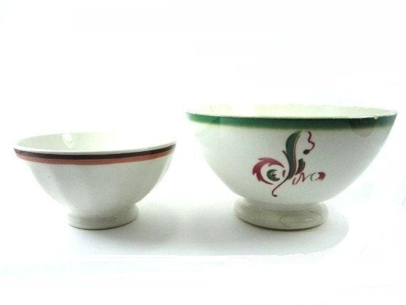 Vintage french cafe au lait bowl ,set of 2, digoin bowl