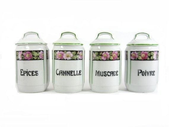 reserved for J Vintage Canister Set French Canister Complete set Porcelain Canister Miniature