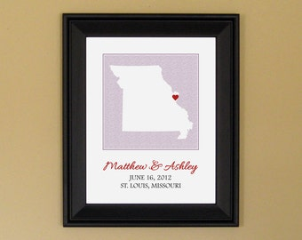 First Anniversary Present - Unique Engagement Gift - Personalized Wedding Art - Custom Missouri State Map - 11 x 14