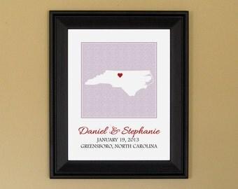 1st Anniversary - Wedding Gift for Couple - Personalized Wedding Art Print - Custom North Carolina State Map - 11 x 14