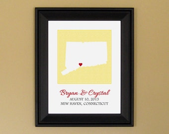 First Anniversary Present - Personalized Wedding Art Print - Unique Engagement Gift - Custom Connecticut State Map - 11 x 14
