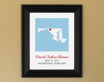 Custom Baby Gift - Personalized Birth Announcement Print - New Mom Present - Maryland State Map - 11 x 14