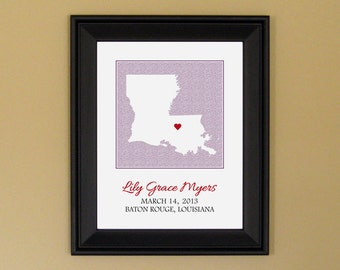 Art for Nursery - Personalized Birth Announcement Print - New Mom Gift - Custom Louisiana Map - 11 x 14