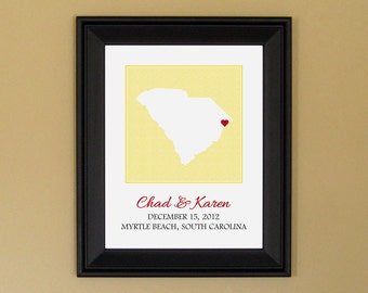 Wedding Gift for Couple - Personalized Anniversary Present - Engagement Art Print  - Custom South Carolina Heart Map - 11 x 14